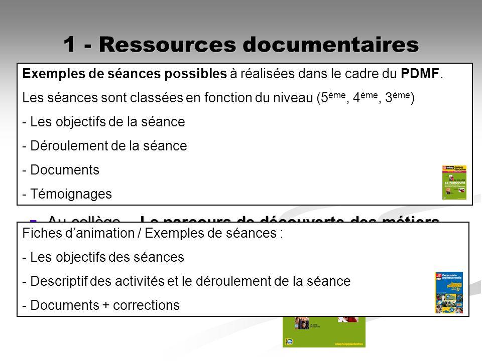 1 - Ressources documentaires Découverte professionnelle option 3 heures Découverte professionnelle option 3 heuresONISEP Au collège – Le parcours de d