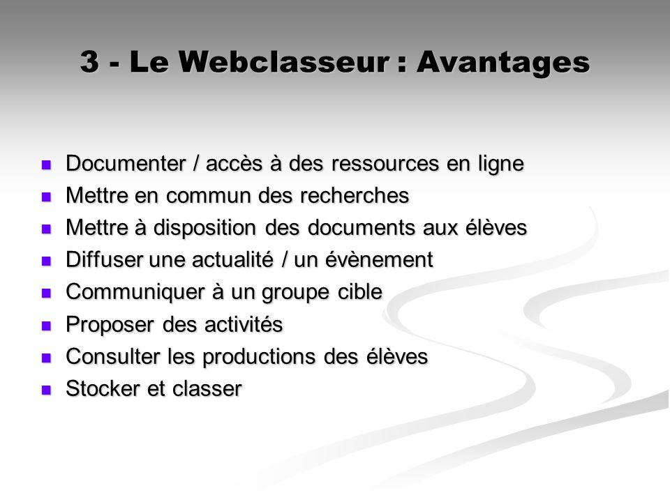 3 - Le Webclasseur : Avantages Documenter / accès à des ressources en ligne Documenter / accès à des ressources en ligne Mettre en commun des recherch