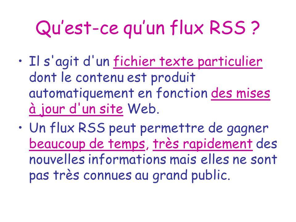 Quest-ce quun flux RSS ? Il s'agit d'un fichier texte particulier dont le contenu est produit automatiquement en fonction des mises à jour d'un site W