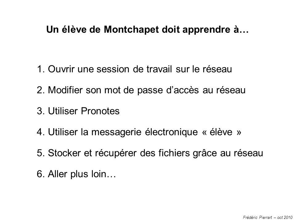 Frédéric Pierrart – oct 2010 1.Ouvrir une session de travail sur le réseau 2.Modifier son mot de passe daccès au réseau 3.Utiliser Pronotes 4.Utiliser