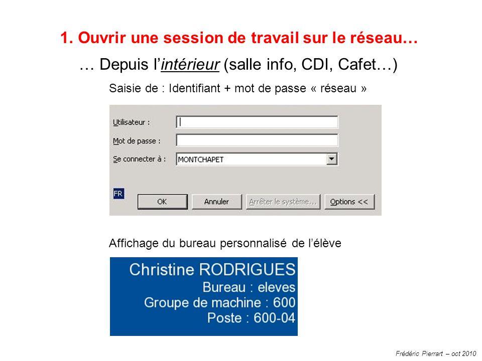 Frédéric Pierrart – oct 2010 1.Ouvrir une session de travail sur le réseau… … Depuis lintérieur (salle info, CDI, Cafet…) Saisie de : Identifiant + mo