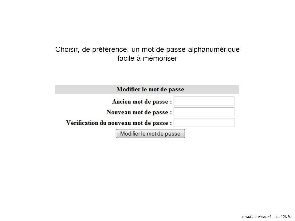 Frédéric Pierrart – oct 2010 Choisir, de préférence, un mot de passe alphanumérique facile à mémoriser