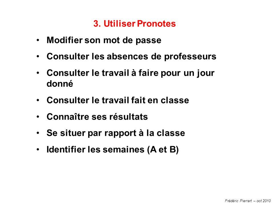 Frédéric Pierrart – oct 2010 3.Utiliser Pronotes Modifier son mot de passe Consulter les absences de professeurs Consulter le travail à faire pour un