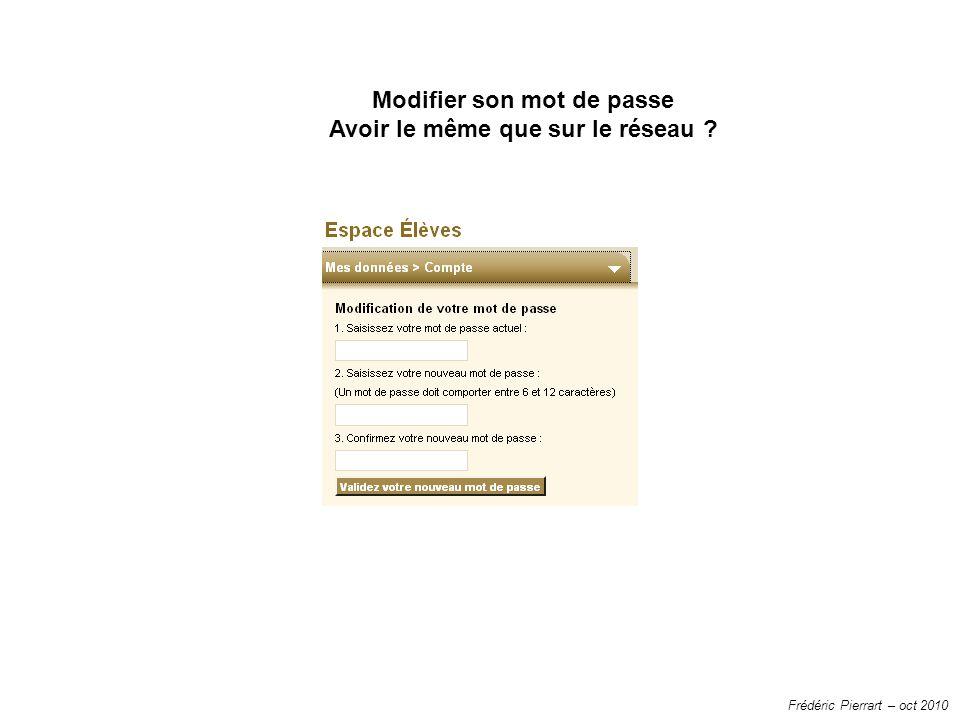 Frédéric Pierrart – oct 2010 Modifier son mot de passe Avoir le même que sur le réseau ?