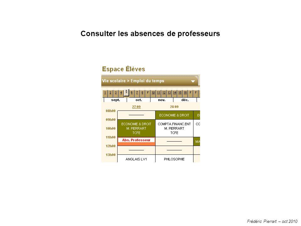 Frédéric Pierrart – oct 2010 Consulter les absences de professeurs