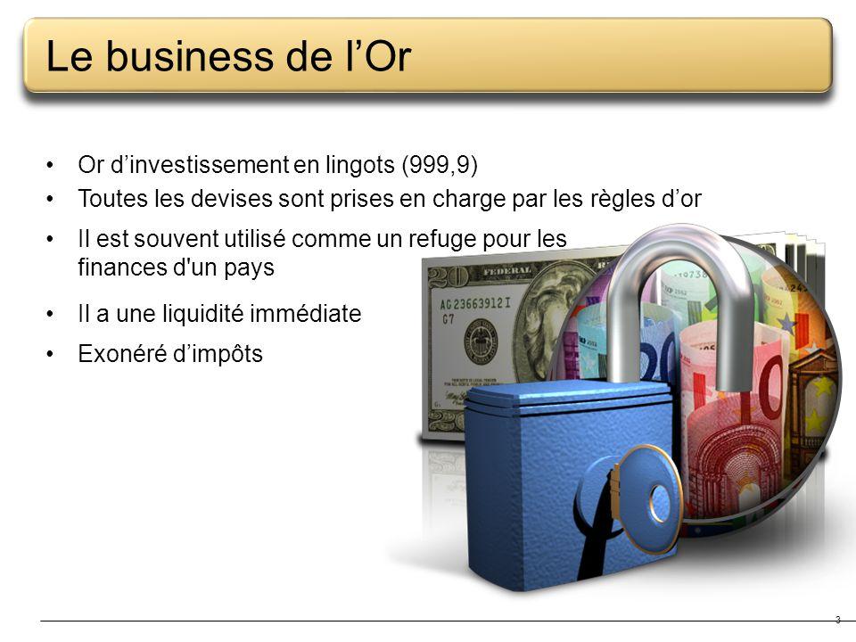 3 Le business de lOr Or dinvestissement en lingots (999,9) Toutes les devises sont prises en charge par les règles dor Il est souvent utilisé comme un