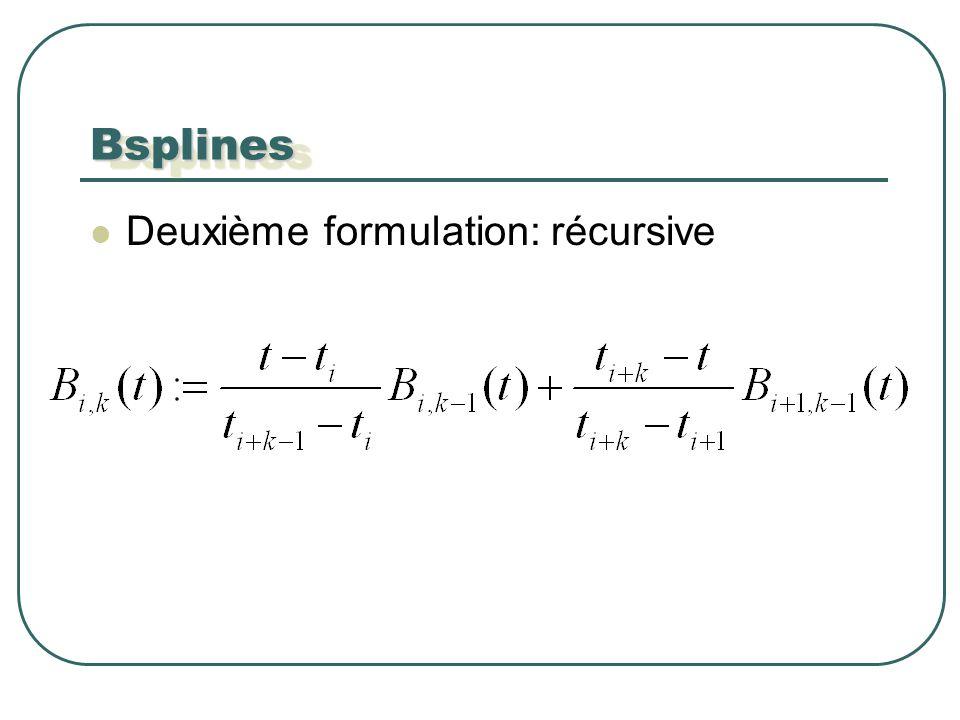 BsplinesBsplines Deuxième formulation: récursive