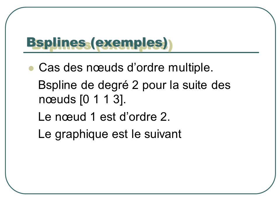 Cas des nœuds dordre multiple. Bspline de degré 2 pour la suite des nœuds [0 1 1 3].