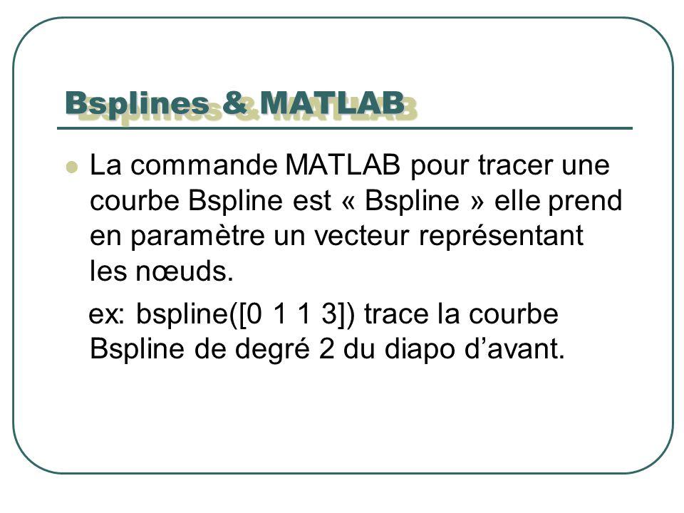 Bsplines & MATLAB La commande MATLAB pour tracer une courbe Bspline est « Bspline » elle prend en paramètre un vecteur représentant les nœuds.