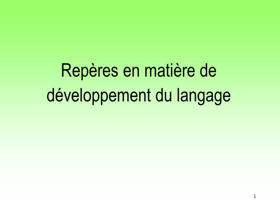 1 Repères en matière de développement du langage