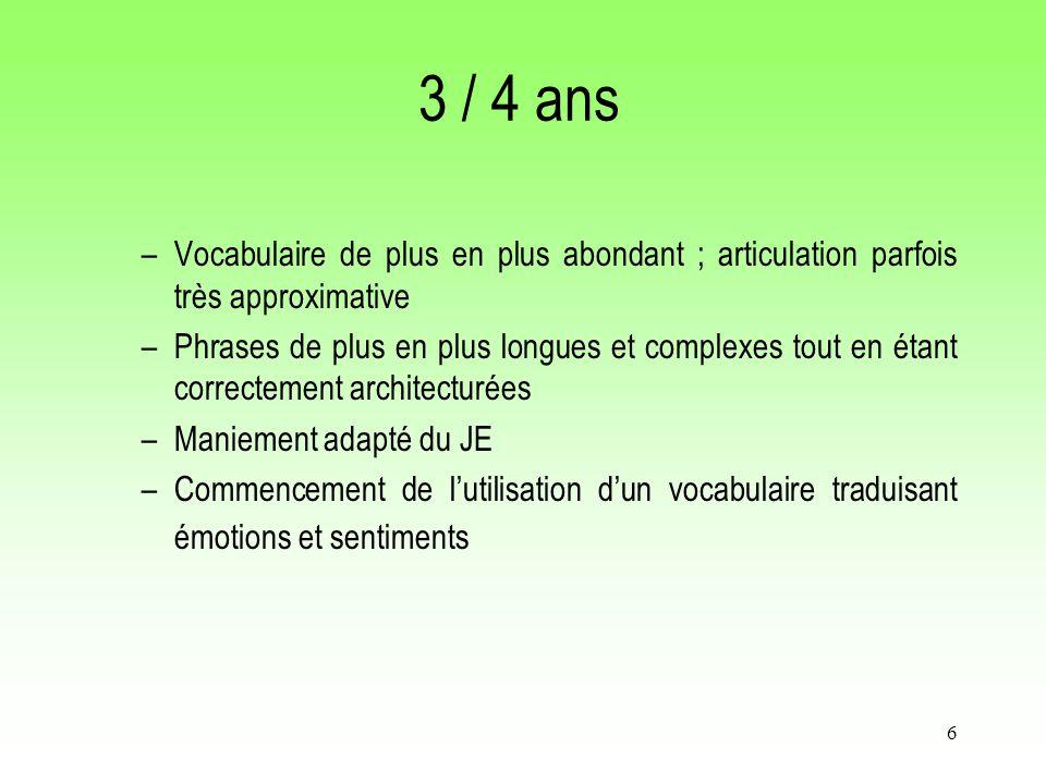 6 3 / 4 ans –Vocabulaire de plus en plus abondant ; articulation parfois très approximative –Phrases de plus en plus longues et complexes tout en étan