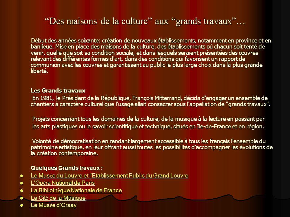 La France et la culture Après la Révolution en 1789 et surtout à partir de la IIIème République; politique culturelle de LÉtat prend une nouvelle dime
