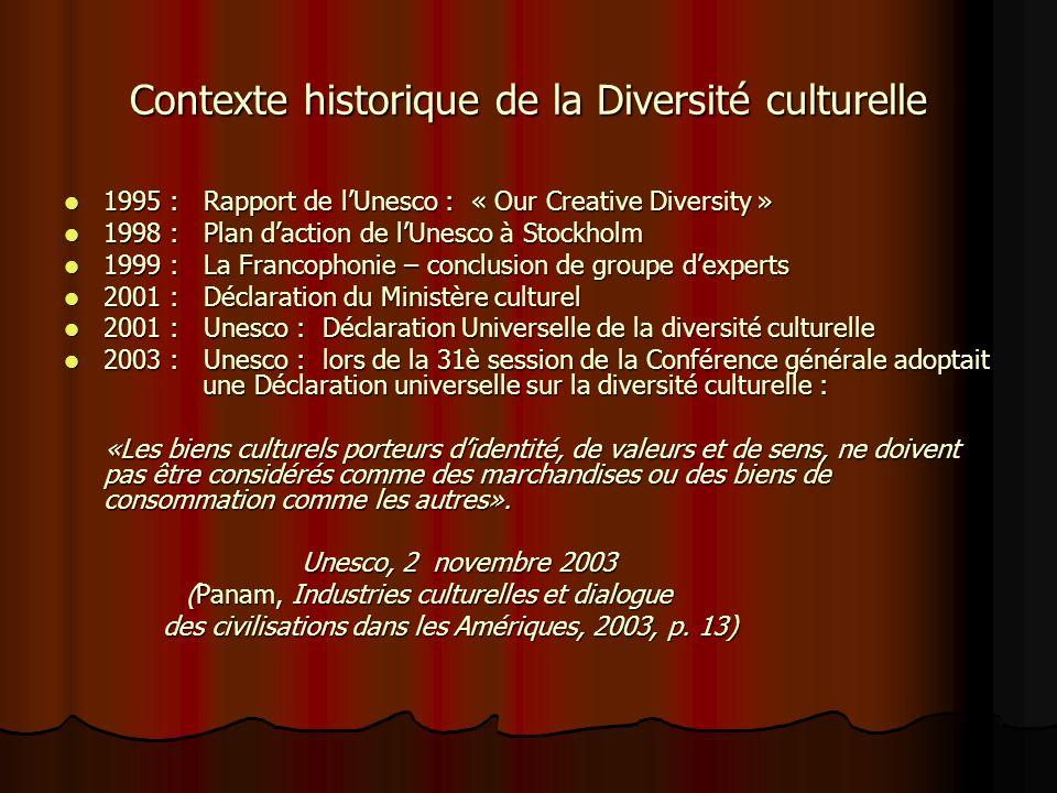 La diversité culturelle Définition: «La diversité culturelle, cest permettre le choix. Cest permettre que reste possible ce choix, cest faire en sorte