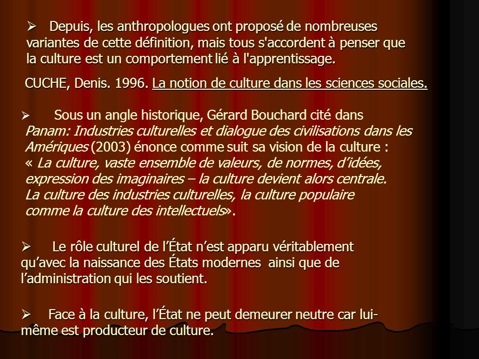 Pour l'anthropologie, la culture désigne l'ensemble des activités et des comportements, aussi bien pratiques que symboliques, créés, transmis ou trans