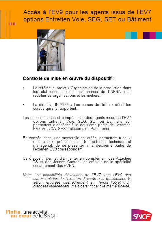 lInfra, une activité au cœur de la SNCF Accès à lEV9 pour les agents issus de lEV7 options Entretien Voie, SEG, SET ou Bâtiment Conditions daccès au dispositif : a.Être issu de lexamen EV7 dune des options : –Entretien voie –SEG –SET –Bâtiment Nota : Lépreuve de TEEP doit être validée pour les examens depuis 2004 b.Être titulaire de lun des grades de qualification E : –KV, KVP, TEV ou TEVP c.Avoir tenu durant une période minimale de 3 ans un ou au plus deux postes consécutifs correspondants aux emplois suivants : –TO, Contrôleur Voie, Chef dentretien SEG, Spécialiste ou assistant en technique bâtiments en groupe dappui, Spécialiste Télécoms en région ou assistant spécialisé Télécoms.