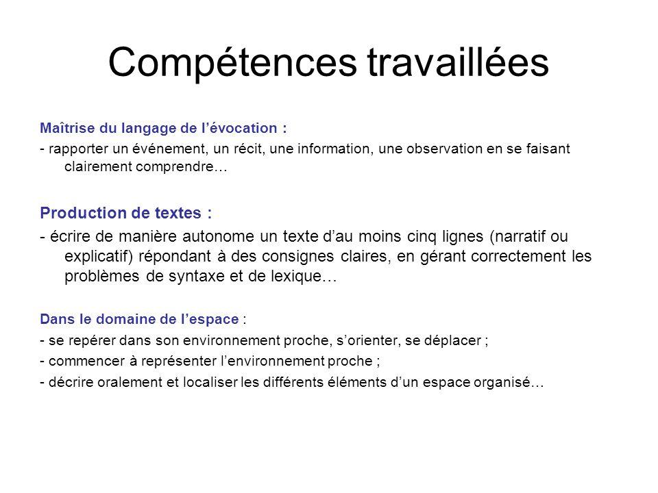 Compétences travaillées Maîtrise du langage de lévocation : - rapporter un événement, un récit, une information, une observation en se faisant clairem