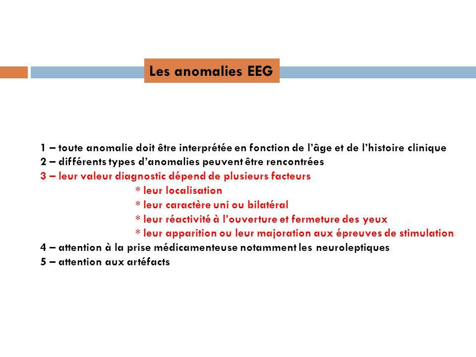 Les anomalies EEG 1 – toute anomalie doit être interprétée en fonction de lâge et de lhistoire clinique 2 – différents types danomalies peuvent être r