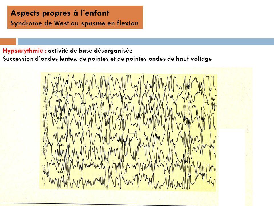 Aspects propres à lenfant Syndrome de West ou spasme en flexion Hypsarythmie : activité de base désorganisée Succession dondes lentes, de pointes et de pointes ondes de haut voltage
