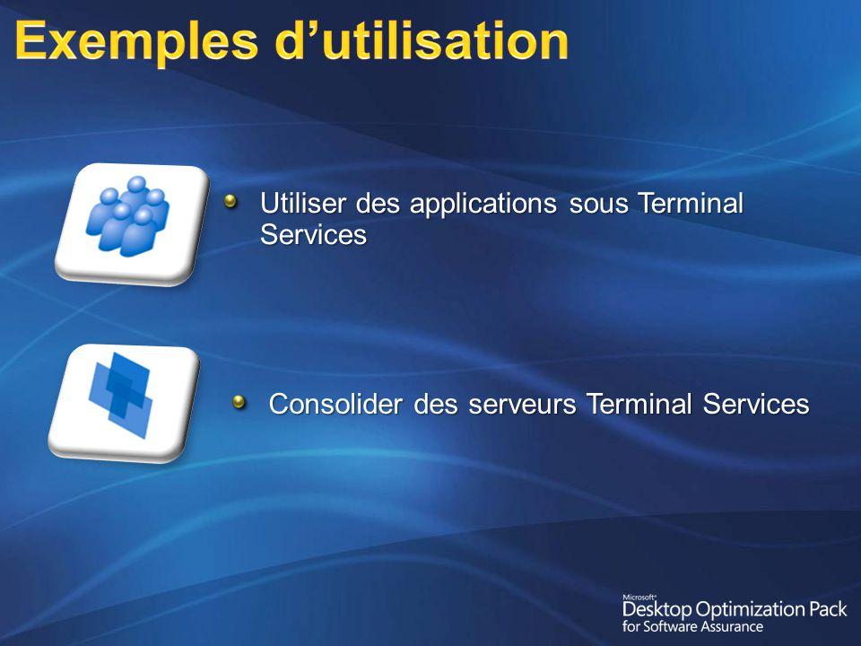 Utiliser des applications sous Terminal Services Consolider des serveurs Terminal Services