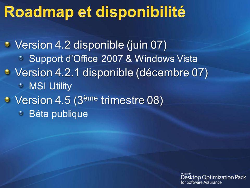 Version 4.2 disponible (juin 07) Support dOffice 2007 & Windows Vista Version 4.2.1 disponible (décembre 07) MSI Utility Version 4.5 (3 ème trimestre 08) Béta publique