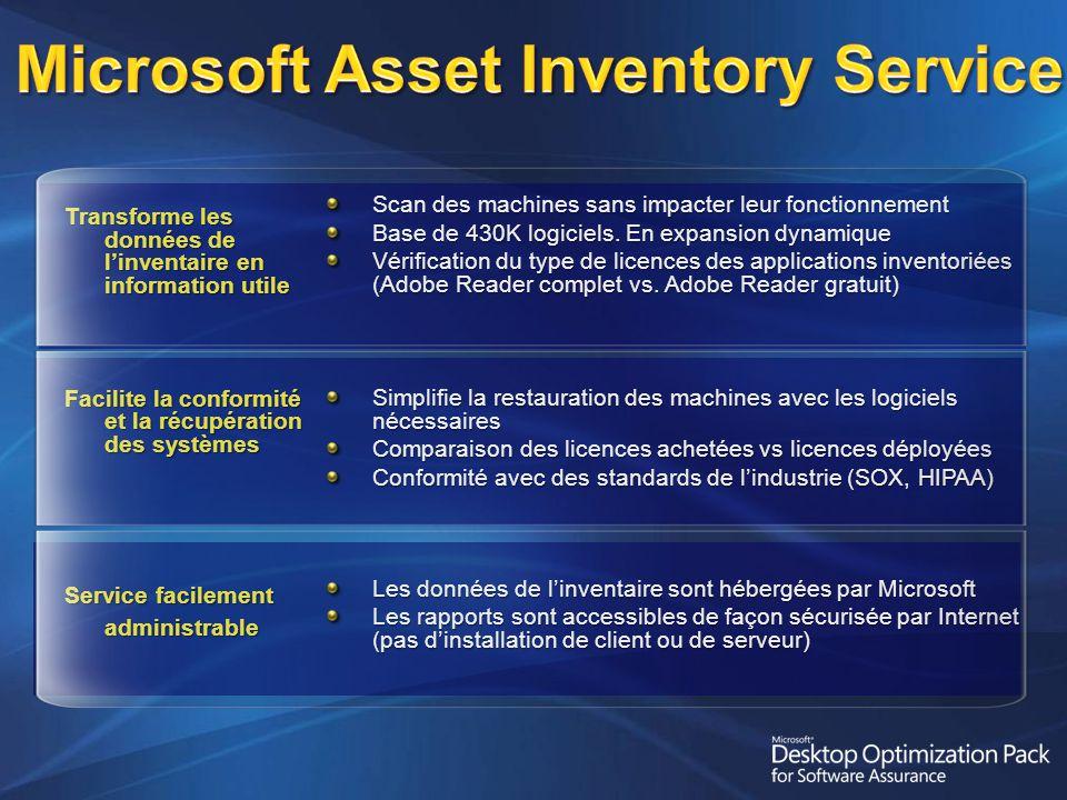 Scan des machines sans impacter leur fonctionnement Base de 430K logiciels.