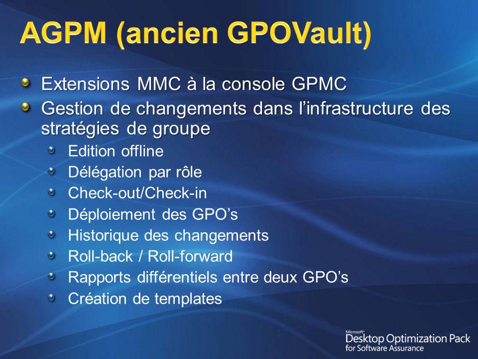 Extensions MMC à la console GPMC Gestion de changements dans linfrastructure des stratégies de groupe Edition offline Délégation par rôle Check-out/Check-in Déploiement des GPOs Historique des changements Roll-back / Roll-forward Rapports différentiels entre deux GPOs Création de templates