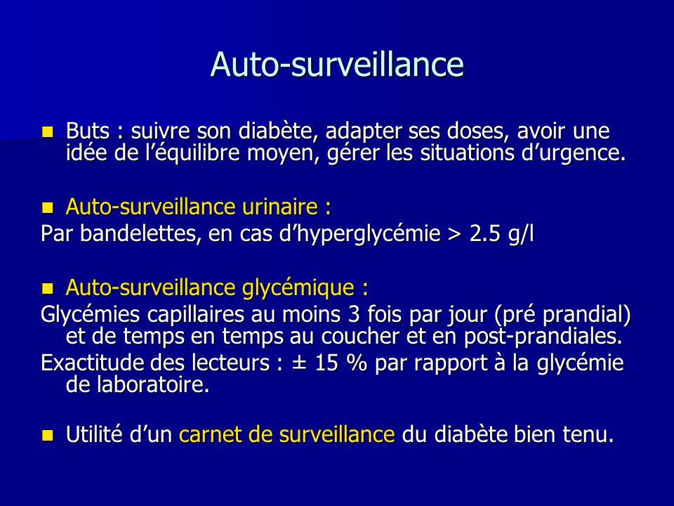 Auto-surveillance Buts : suivre son diabète, adapter ses doses, avoir une idée de léquilibre moyen, gérer les situations durgence. Buts : suivre son d