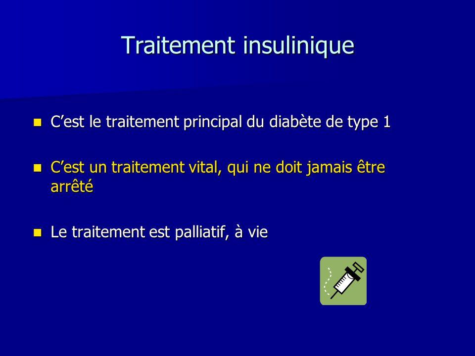 Traitement insulinique Cest le traitement principal du diabète de type 1 Cest le traitement principal du diabète de type 1 Cest un traitement vital, q