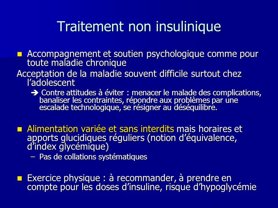 Traitement non insulinique Accompagnement et soutien psychologique comme pour toute maladie chronique Accompagnement et soutien psychologique comme po