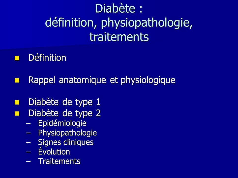 Diabète : définition, physiopathologie, traitements Définition Définition Rappel anatomique et physiologique Rappel anatomique et physiologique Diabèt