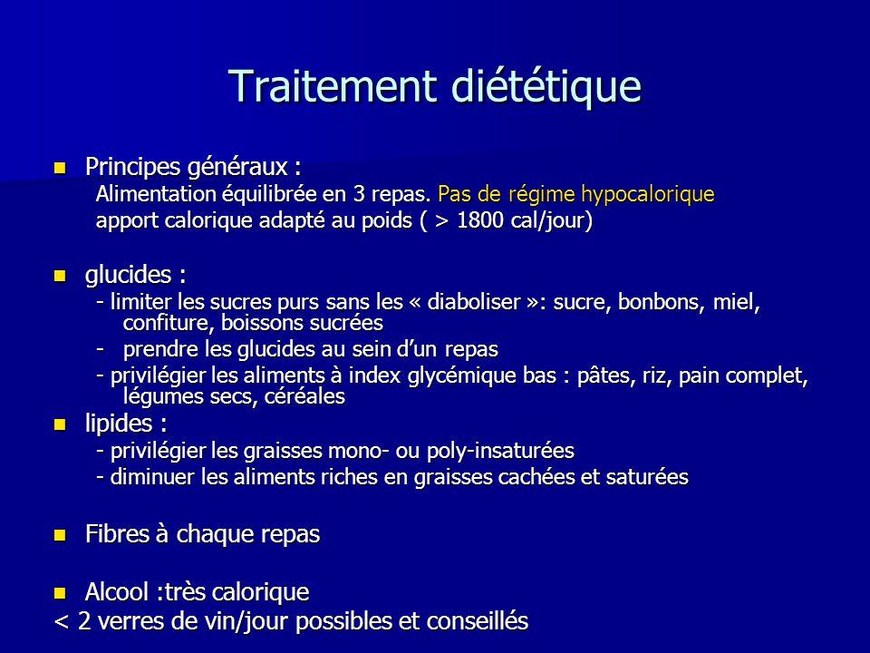 Traitement diététique Principes généraux : Principes généraux : Alimentation équilibrée en 3 repas. Pas de régime hypocalorique apport calorique adapt