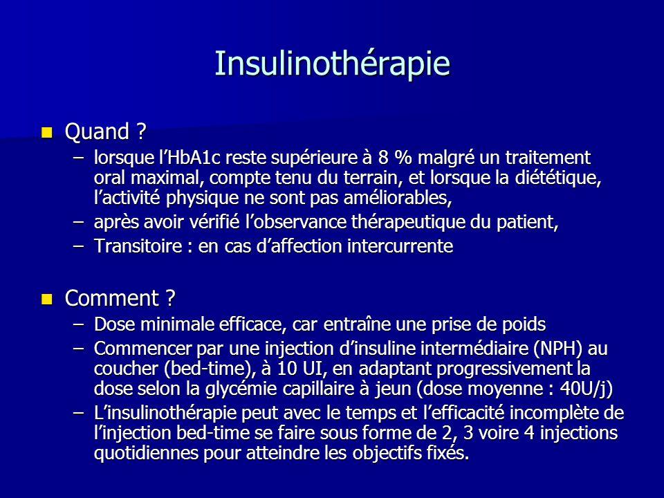 Insulinothérapie Quand ? Quand ? –lorsque lHbA1c reste supérieure à 8 % malgré un traitement oral maximal, compte tenu du terrain, et lorsque la diété
