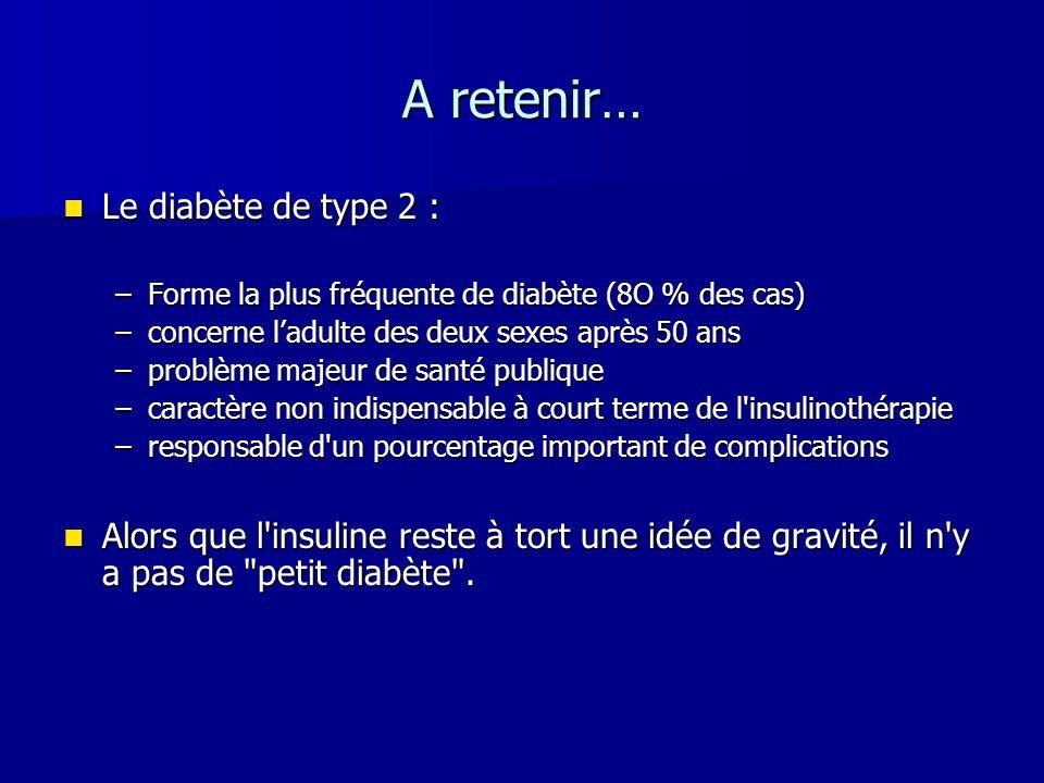 A retenir… Le diabète de type 2 : Le diabète de type 2 : –Forme la plus fréquente de diabète (8O % des cas) –concerne ladulte des deux sexes après 50