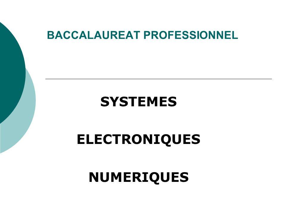 BACCALAUREAT PROFESSIONNEL SYSTEMES ELECTRONIQUES NUMERIQUES