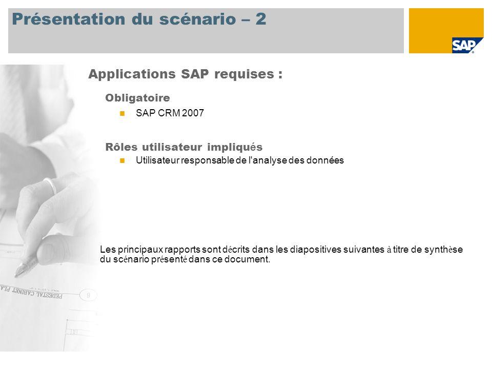 Présentation du scénario – 2 Obligatoire SAP CRM 2007 Rôles utilisateur impliqu é s Utilisateur responsable de l analyse des données Applications SAP requises : Les principaux rapports sont d é crits dans les diapositives suivantes à titre de synth è se du sc é nario pr é sent é dans ce document.