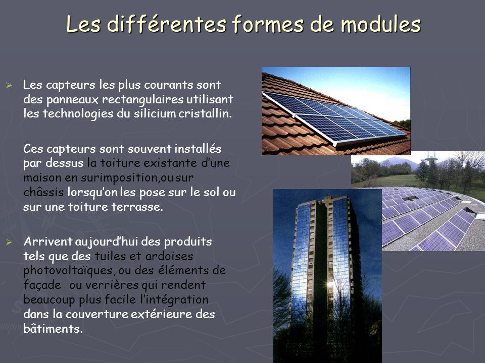 Les différentes formes de modules Les capteurs les plus courants sont des panneaux rectangulaires utilisant les technologies du silicium cristallin. C