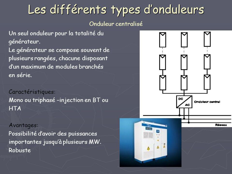 Les différents types donduleurs Les différents types donduleurs Onduleur centralisé Un seul onduleur pour la totalité du générateur. Le générateur se