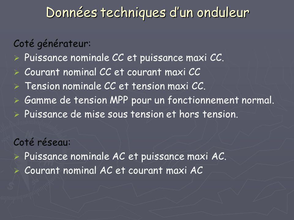 Données techniques dun onduleur Coté générateur: Puissance nominale CC et puissance maxi CC. Courant nominal CC et courant maxi CC Tension nominale CC