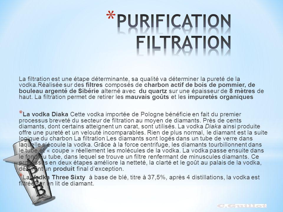 La filtration est une étape déterminante, sa qualité va déterminer la pureté de la vodka.Réalisée sur des filtres composés de charbon actif de bois de