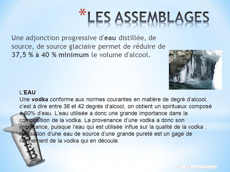 Une adjonction progressive deau distillée, de source, de source glaciaire permet de réduire de 37,5 % à 40 % minimum le volume dalcool. LEAU Une vodka