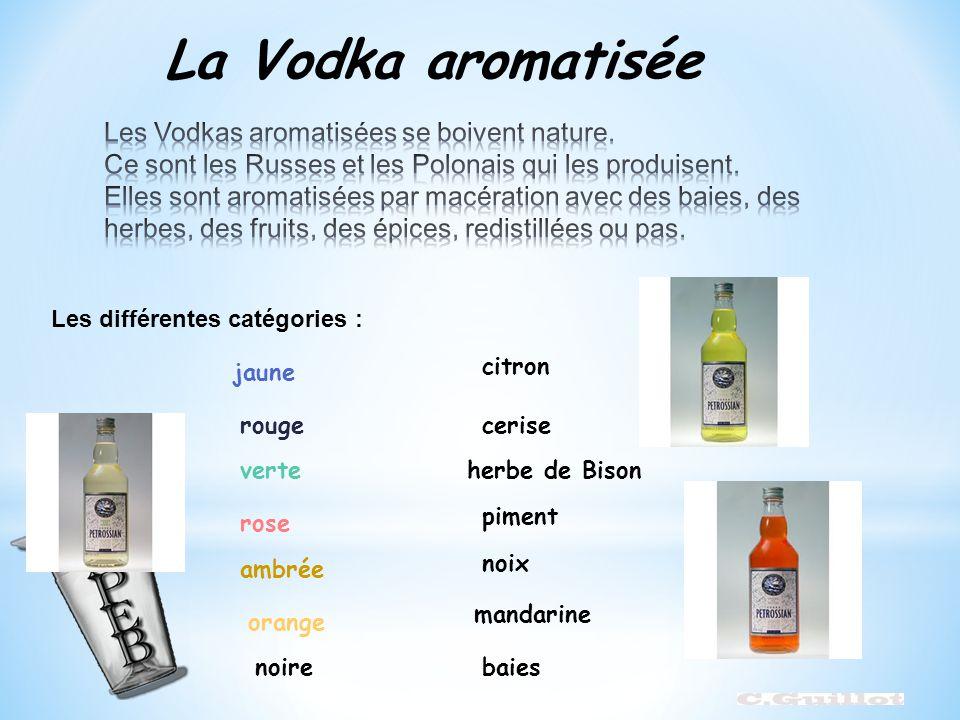 La Vodka aromatisée Les différentes catégories : citron jaune rougecerise verteherbe de Bison rose piment ambrée noix orange mandarine noirebaies