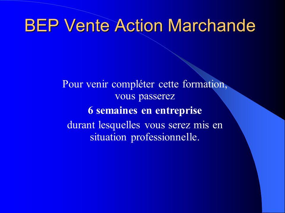 BEP Vente Action Marchande Pour venir compléter cette formation, vous passerez 6 semaines en entreprise durant lesquelles vous serez mis en situation