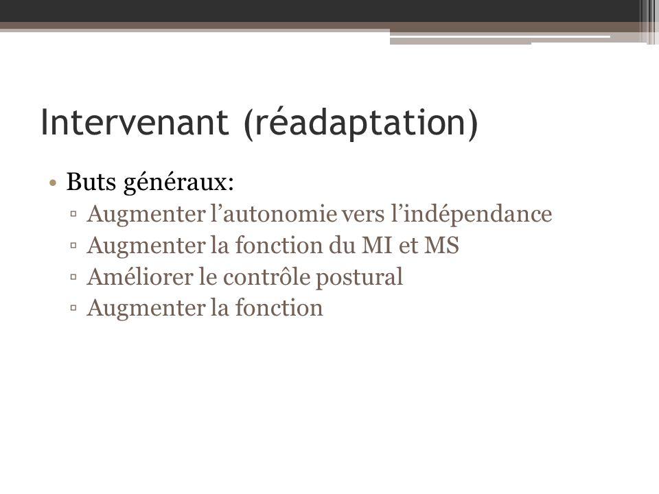 Intervenant (réadaptation) Buts généraux: Augmenter lautonomie vers lindépendance Augmenter la fonction du MI et MS Améliorer le contrôle postural Augmenter la fonction