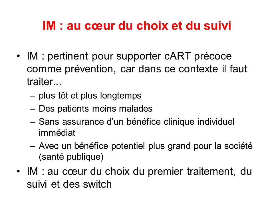 IM : au cœur du choix et du suivi IM : pertinent pour supporter cART précoce comme prévention, car dans ce contexte il faut traiter... –plus tôt et pl