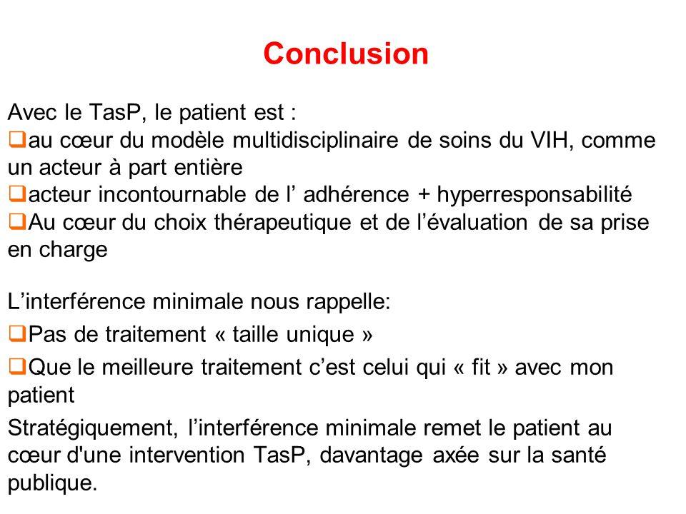 Avec le TasP, le patient est : au cœur du modèle multidisciplinaire de soins du VIH, comme un acteur à part entière acteur incontournable de l adhéren