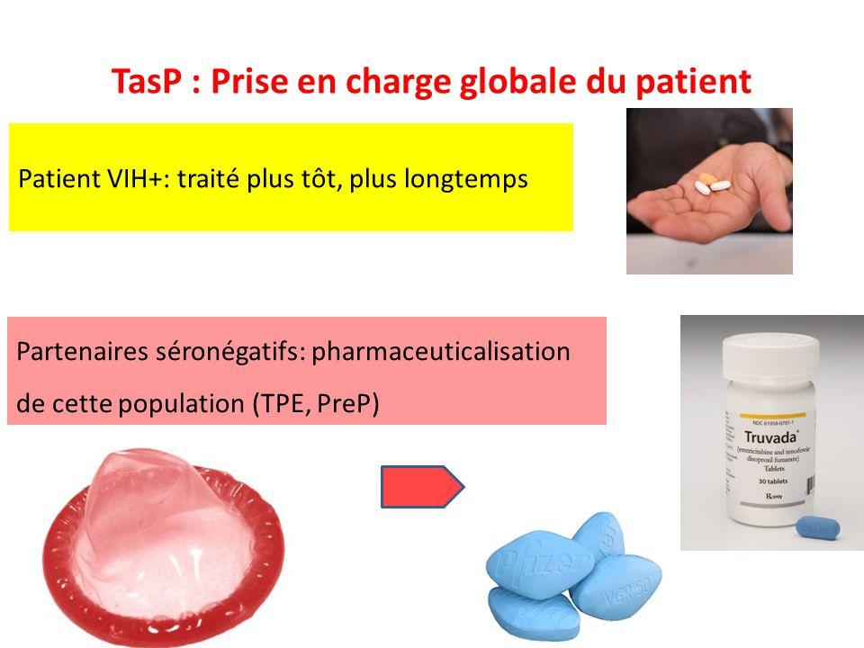 TasP : Prise en charge globale du patient Patient VIH+: traité plus tôt, plus longtemps Partenaires séronégatifs: pharmaceuticalisation de cette popul