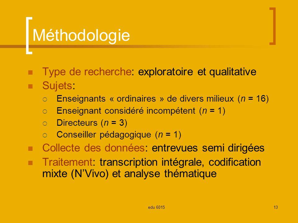 Méthodologie Type de recherche: exploratoire et qualitative Sujets: Enseignants « ordinaires » de divers milieux (n = 16) Enseignant considéré incompétent (n = 1) Directeurs (n = 3) Conseiller pédagogique (n = 1) Collecte des données: entrevues semi dirigées Traitement: transcription intégrale, codification mixte (NVivo) et analyse thématique 13edu 6015