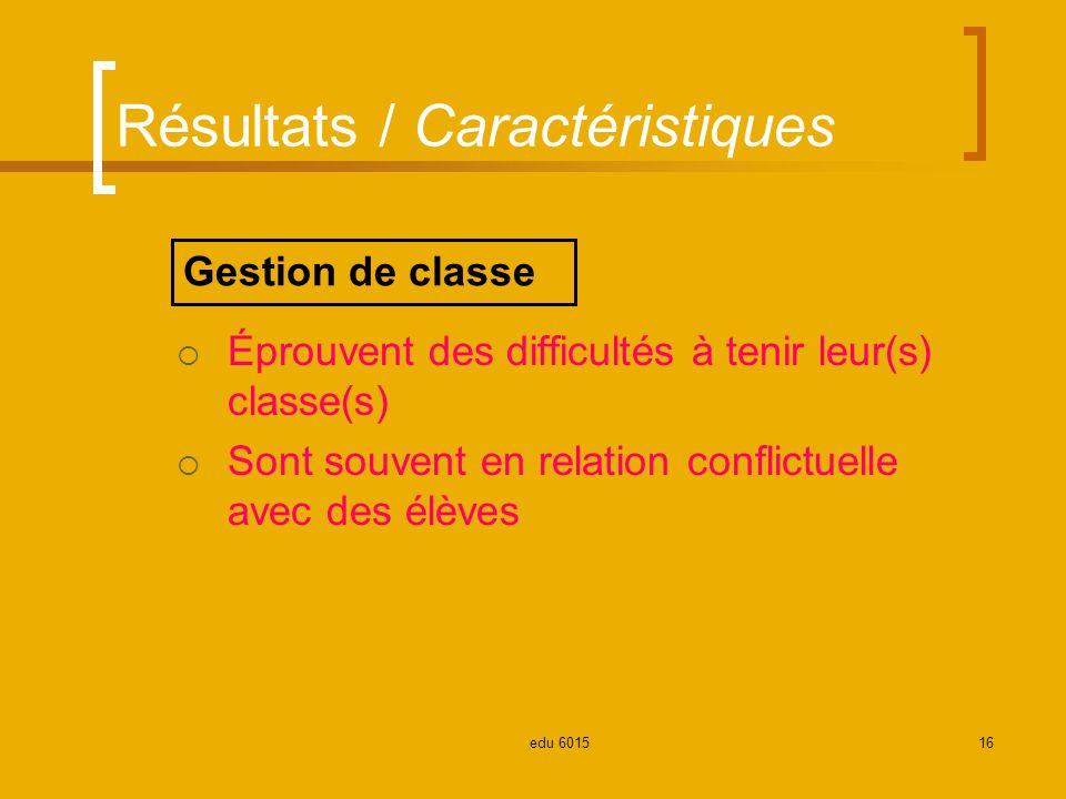 Résultats / Caractéristiques Éprouvent des difficultés à tenir leur(s) classe(s) Sont souvent en relation conflictuelle avec des élèves Gestion de classe 16edu 6015