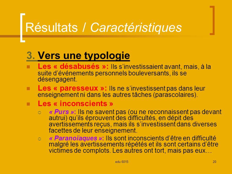 Résultats / Caractéristiques 3.