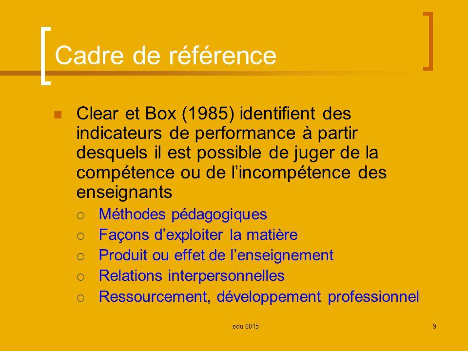 Cadre de référence Clear et Box (1985) identifient des indicateurs de performance à partir desquels il est possible de juger de la compétence ou de lincompétence des enseignants Méthodes pédagogiques Façons dexploiter la matière Produit ou effet de lenseignement Relations interpersonnelles Ressourcement, développement professionnel 9edu 6015